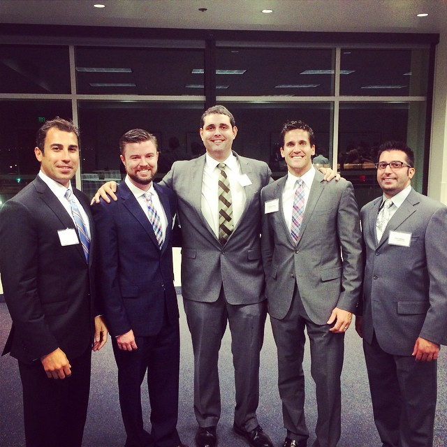 From left: Chapman50 members Jonathon Sanchez (MBA '13), Mike Brown '06, Rob Selway '07 (MBA '09), Brandon Avery '02, and Sam Lahham (MBA '13)
