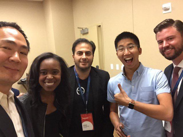 FROM LEFT: VICTOR CHO (CEO OF EVITE), MACI PETERSON '09 (CEO OF ON SECOND THOUGHT), ARAD ROSTAMPOUR (CEO OF ZENAMINS), BRIAN WONG (CEO OF KIIP), AND MIKE BROWN '06 (CEO OF MODBARGAINS)