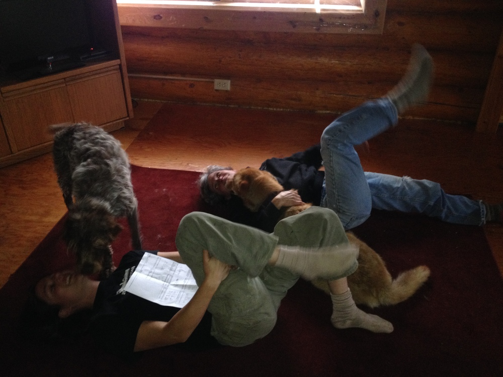 Supai, Jezzy, and Katy all helping Ryne do physical therapy stretches. Not everyone was necessarily helpful….