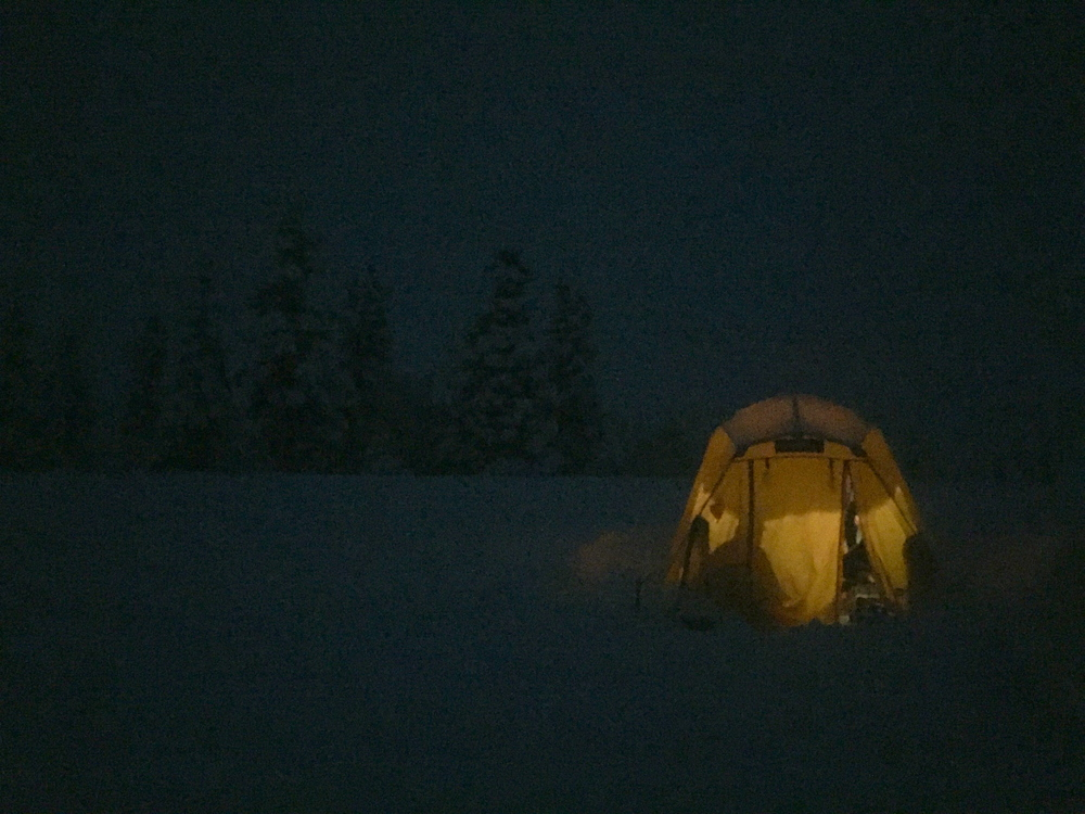 Toasty warm in the Arctic Oven Tent.