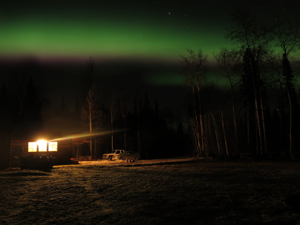 Lights over the cabin.
