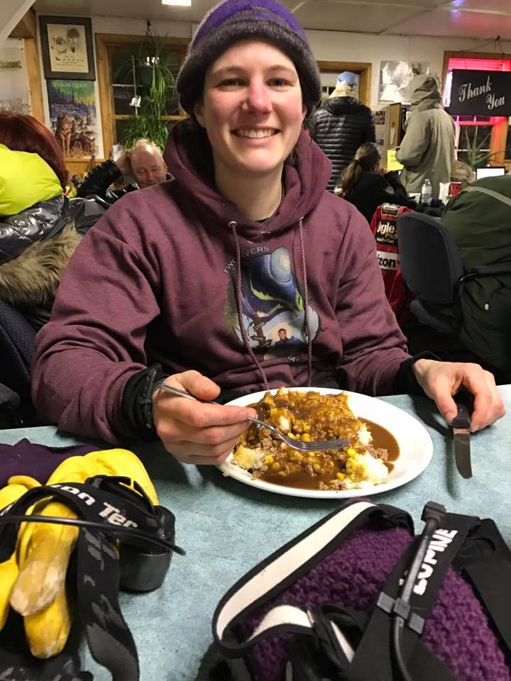 Ryne enjoying a breakfast for champions, 3:45 AM this morning. Soon after Ryne left with 14 excited pups ready to get back on the trail.