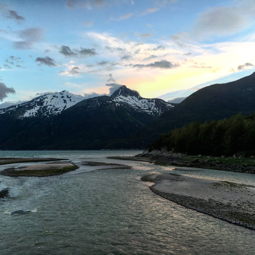 A sunset in Skagway