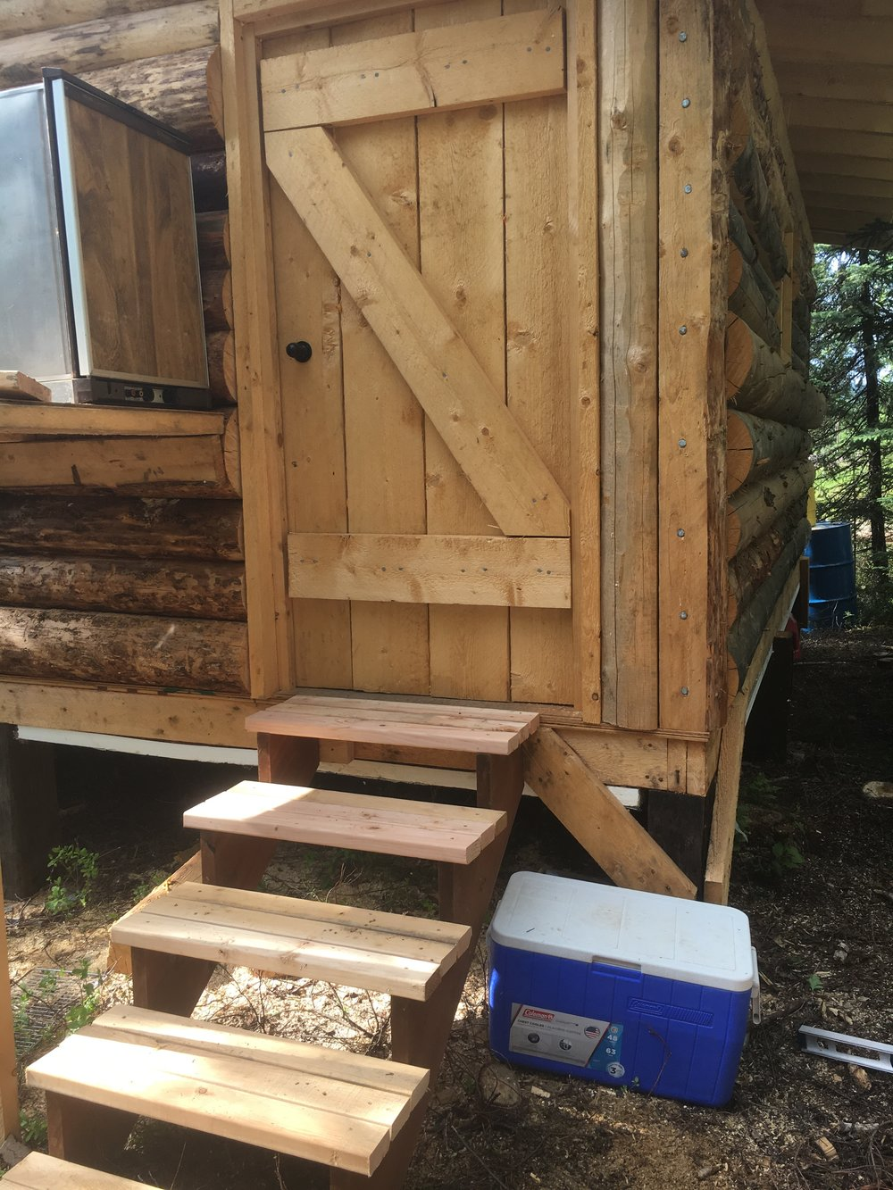 Stairs for the back door of the handler cabin.