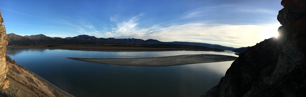 The view from a cliff overlooking the Yukon River.