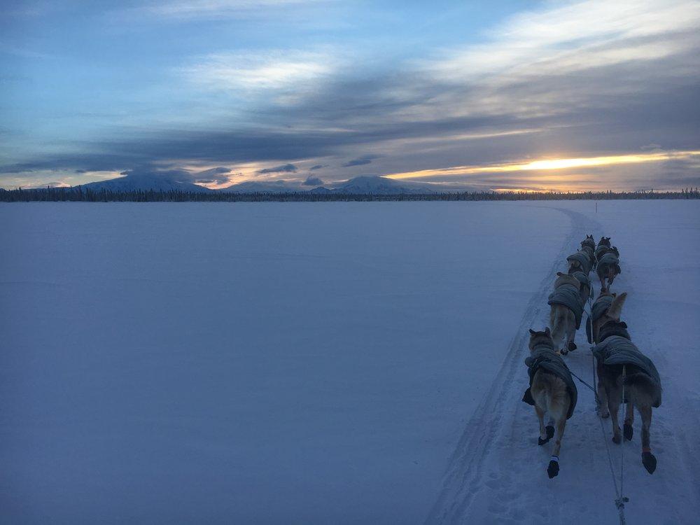 Crossing a frozen lake between meiers lake and sourdough