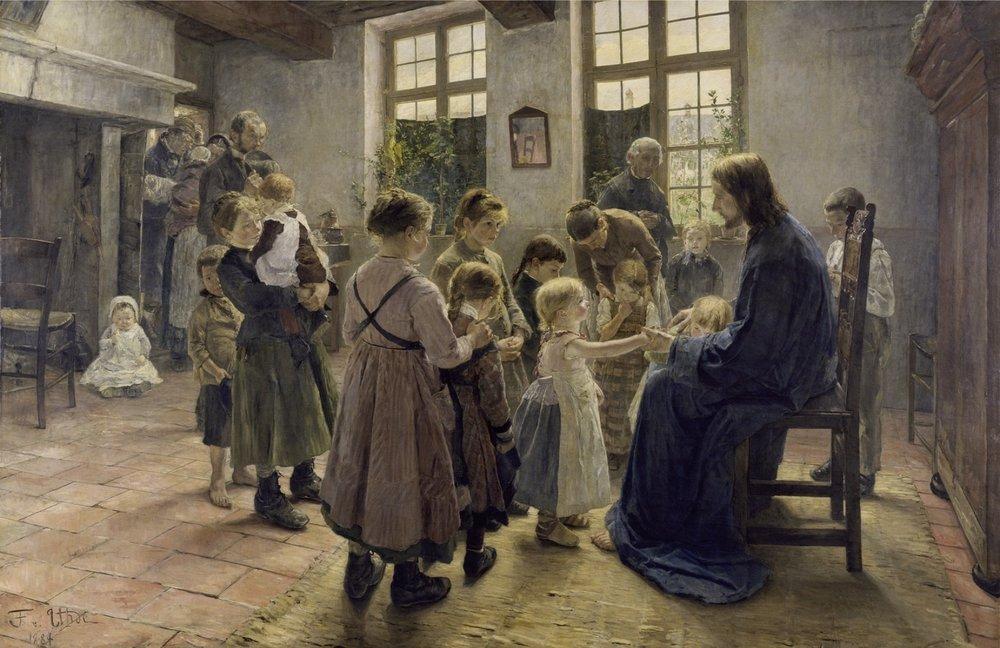 """Fritz_von_Uhde, """"Let the children come"""" [ Lasset die Kinderlein zu mir kommen ] (1884)"""