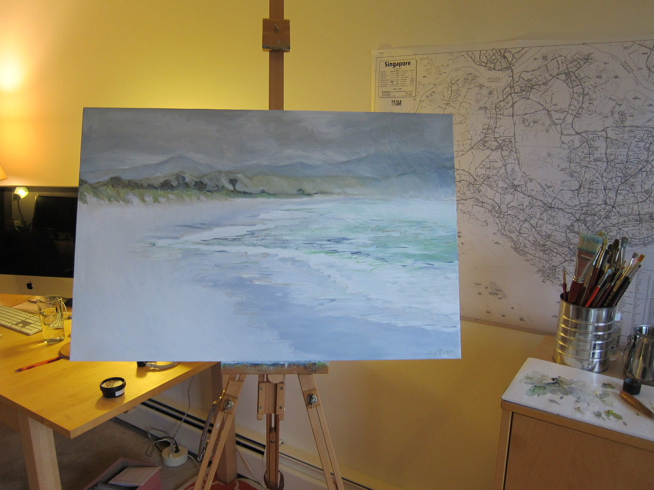 "My work in progress on the studio easel.  I am down to final details on this oil painting.  The title is ""Storm on Tasmania Coast"".  I'm not sure if this one will actually be for sale.  I painted it for the guest bedroom.  ;)"