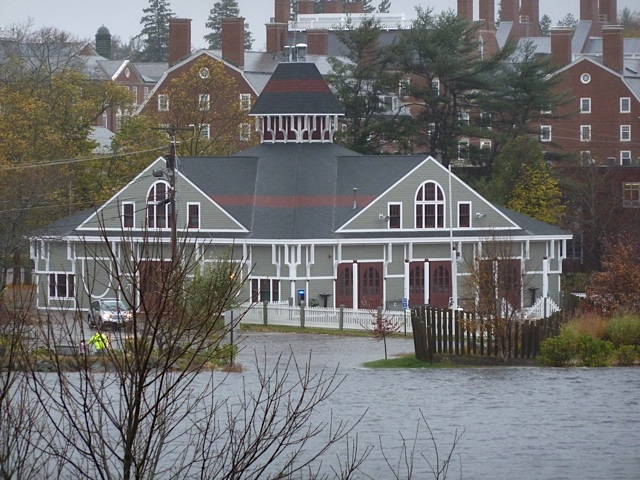 Flooding at boat ramp.  Phillips Exeter Academy Boathouse, Exeter, NH.