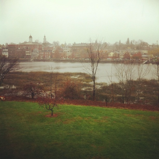 Sandy storm is just rain and some light gusts this morning in Exeter, NH. Tide is still low. (at Downtown Exeter)