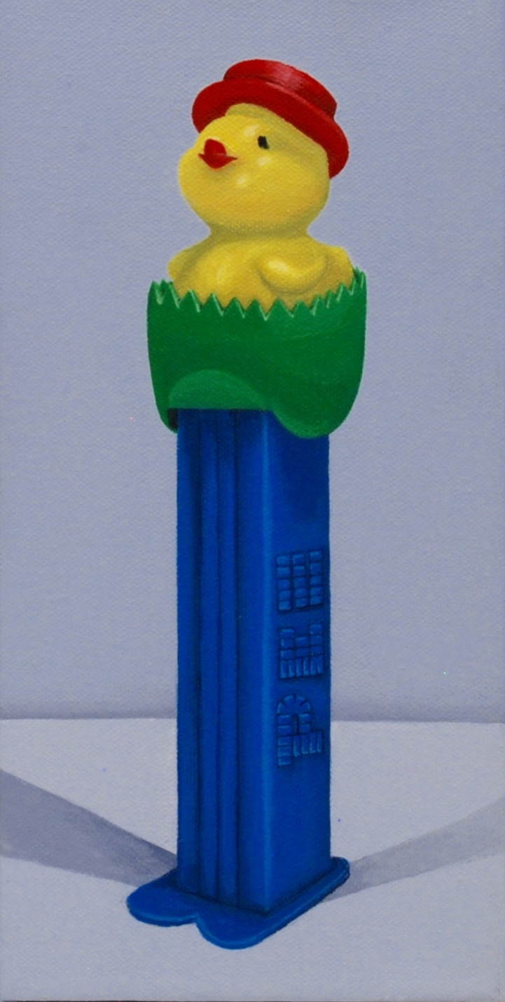 """Loaded  acrylic painting on 6"""" x 12"""" gallery wrapped canvas.  This little PEZ dispenser was released in 1995 and is an intense color combination with endearing appeal.  SOLD"""