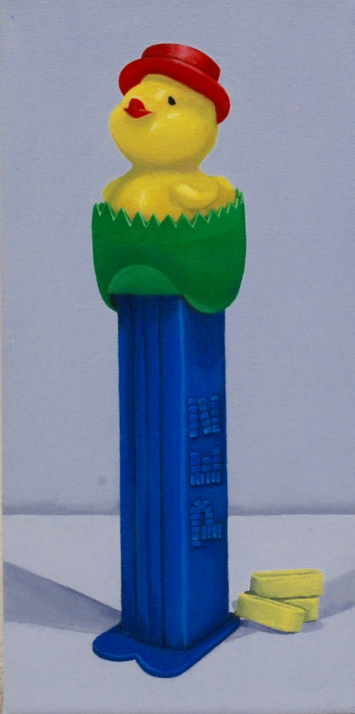 """Laid  acrylic painting on 6"""" x 12"""" gallery wrapped canvas.  This little PEZ dispenser was released in 1995 and is an intense color combination with endearing appeal. This little chic has laid something.    SOLD"""
