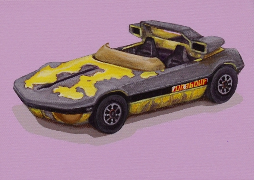 """Winner  The Runabout is a Corgi Toys car made in the 1970s. Hours of fun driving this little race car, but time takes its toll on all.  Acrylic painting on 5"""" x 7"""" gallery wrapped canvas.  SOLD"""