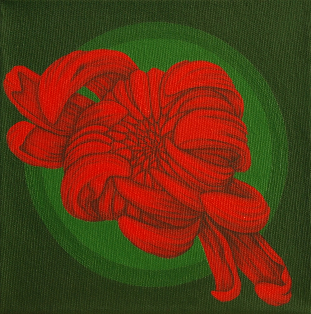 """ArrestMeRed (1)   The iconic placement of this chrysanthemum within concentric circles amplifies the impact of this bright red flower. Additionally the complement pairing of red and green makes this chrysanthemum pop off the canvas. Enjoy the impact of ArrestMeRed (1). (8""""x8""""x1.5"""" wrapped canvas)  SOLD"""