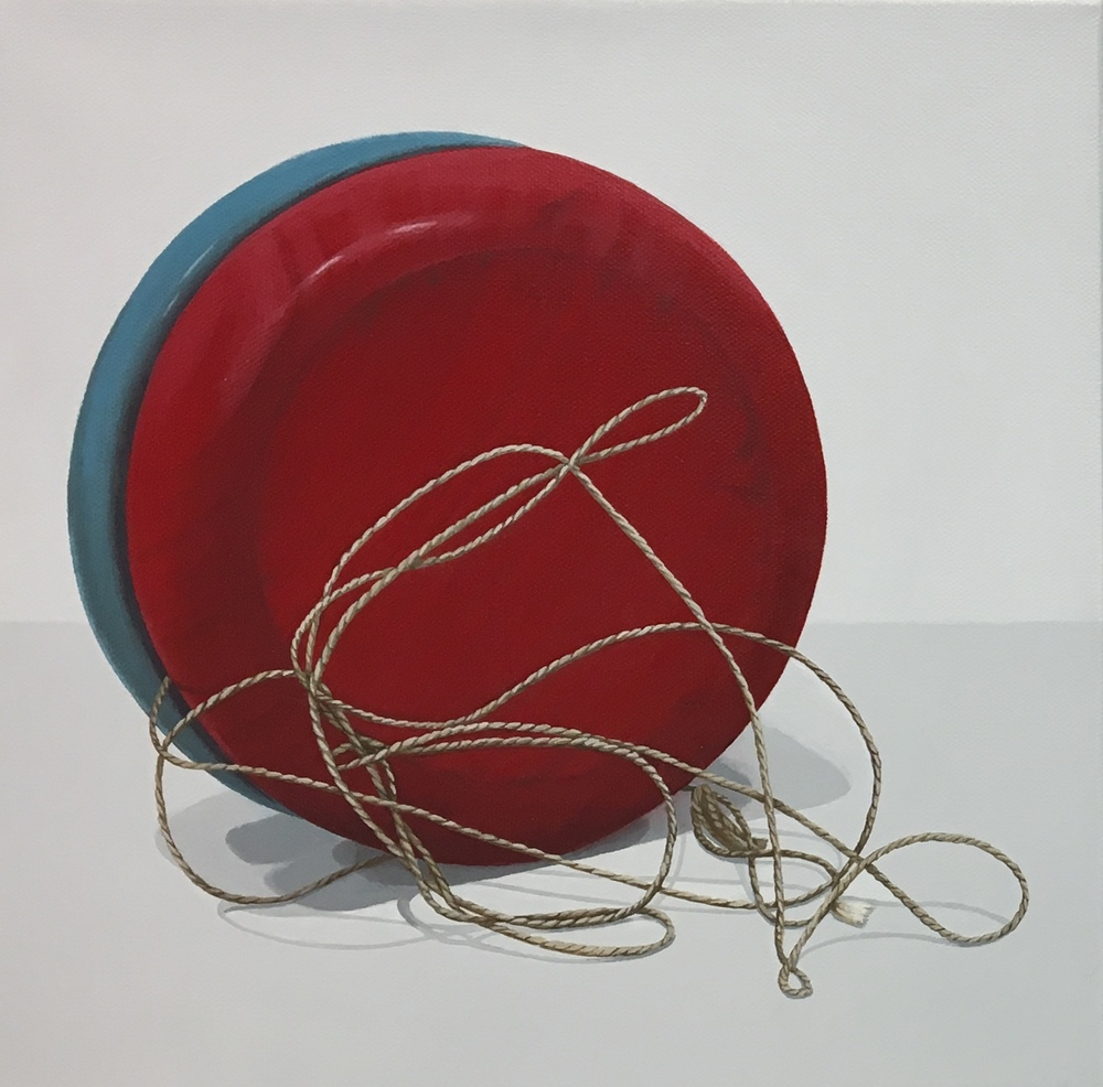 """Expanded  The yo-yo was first noted in history in 500BC and is thought to originate in China. Over America's history the yo-yo has become a well loved iconic toy. This piece is a wonderful companion piece to Potential.  acrylic on gallery wrapped canvas. 12"""" x 12"""" (1.5"""" depth).  SOLD"""