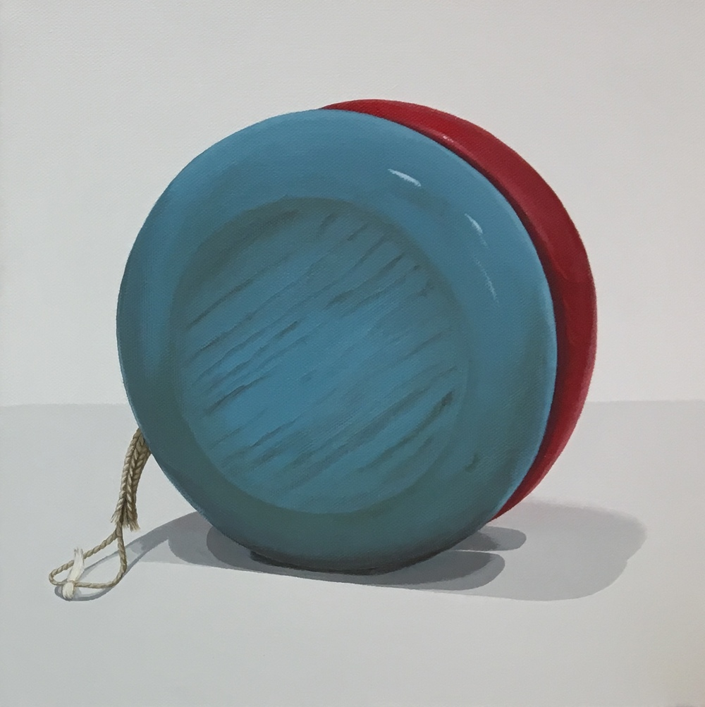"""Potential  The yo-yo was first noted in history in 500BC and is thought to originate in China. Over America's history the yo-yo has become a well loved iconic toy. This piece is a wonderful companion piece to Expanded.  acrylic on gallery wrapped canvas. 12"""" x 12"""" (1.5"""" depth).  SOLD"""