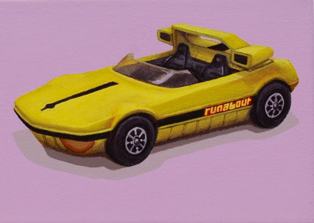 """Racer  The Runabout is a Corgi Toys car made in the 1970s. Hours of fun driving this little race car.  Acrylic painting on 5"""" x 7"""" gallery wrapped canvas.  SOLD"""