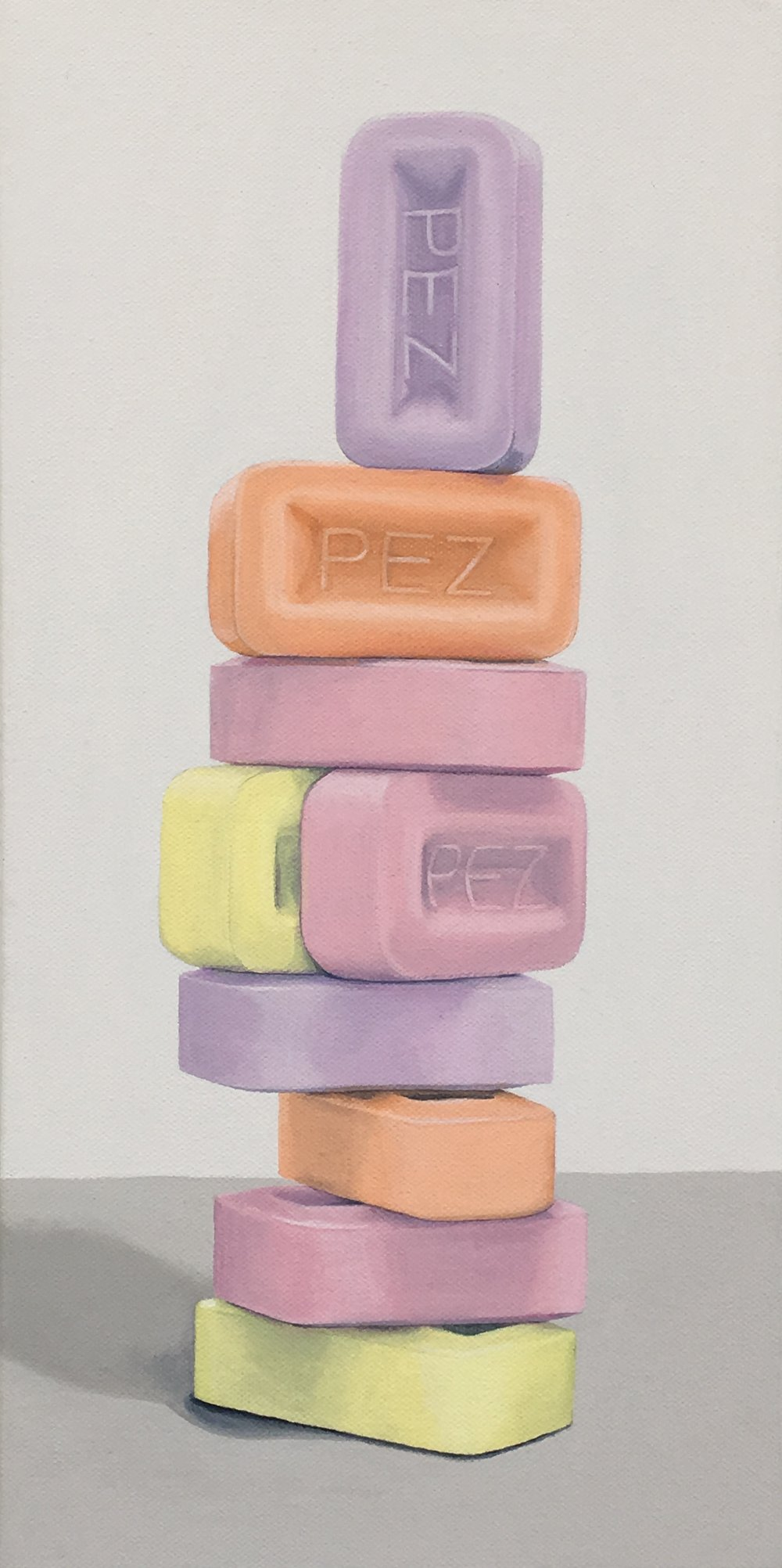 Totem: PEZ - Historically these little candies were mint flavored and named for the German word mint 'pfefferminz', hence their name, PEZ. Now a still popular treat that comes with a playful dispenser,his work shows the PEZ pieces without the dispenser and stacked playfully,as such could be titled a PEZ nude.8