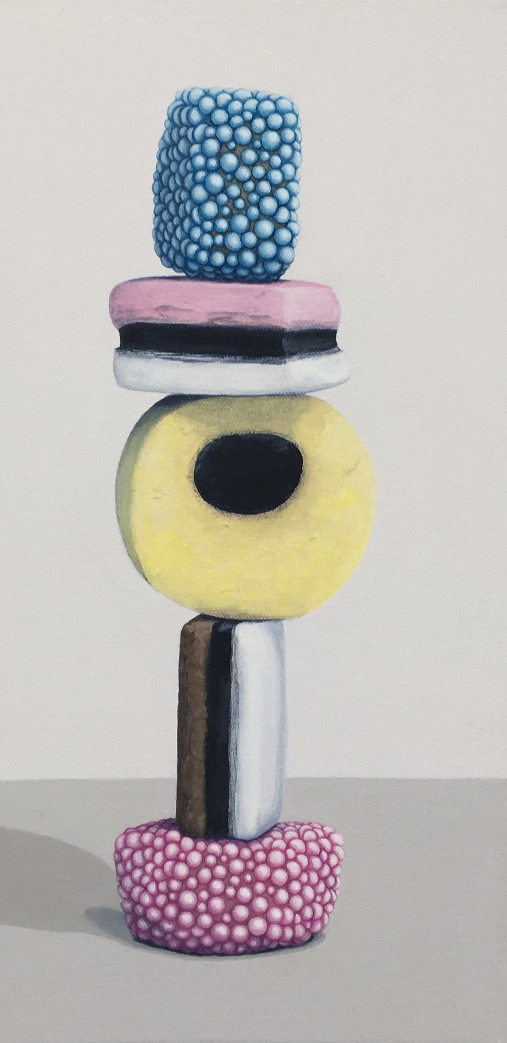 "Totem: Allsorts III   This enticing candy stacks is a delightful temptation. As a culture we are generally attracted to these charming colors and interesting shapes, but once the candy is experienced as a food there is often a mismatch between its attractiveness and its taste. This work explores the occurrence of the incongruity of appearance and experience.  8"" x 16"" gallery wrapped canvas  $400.00"