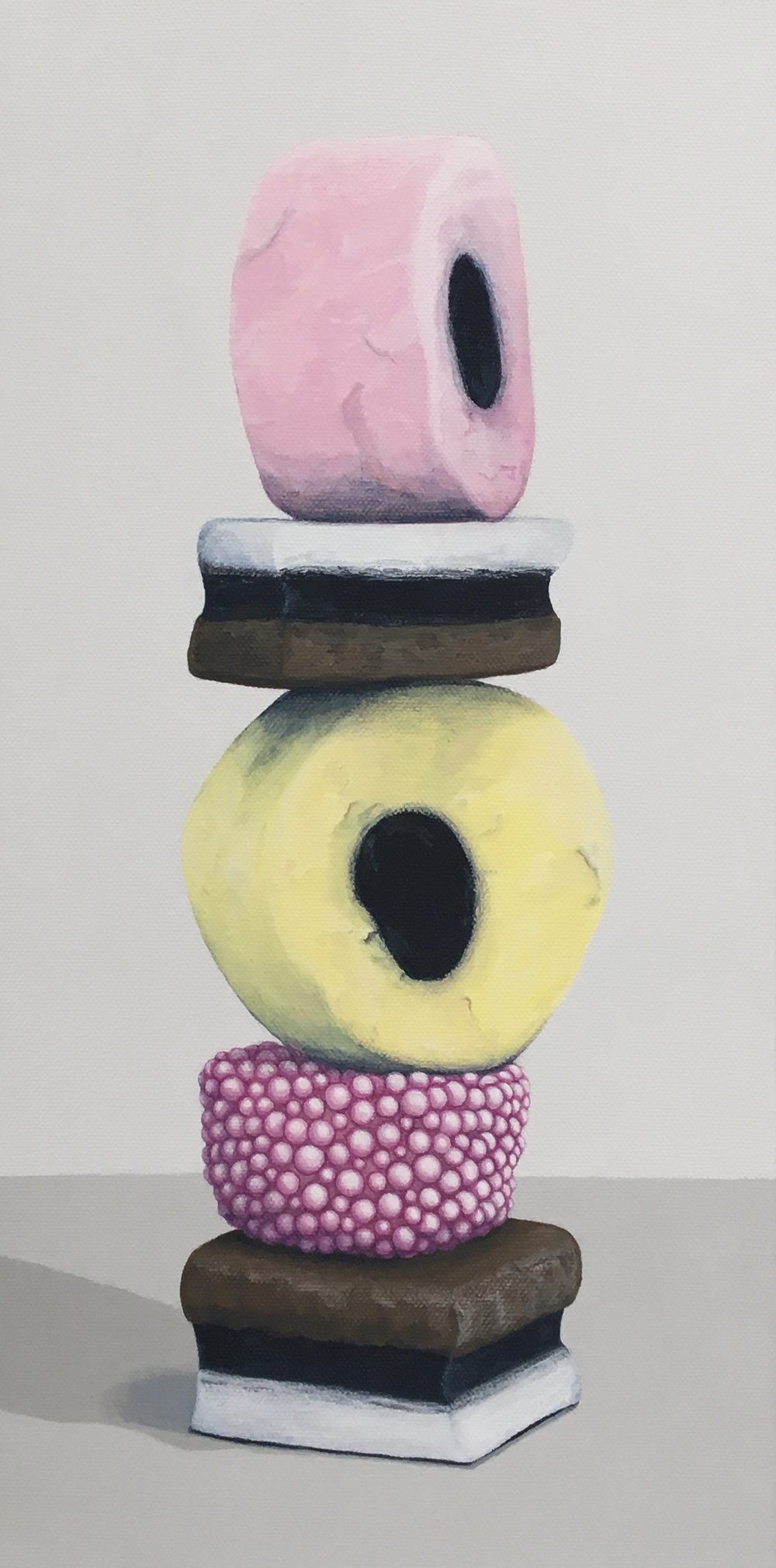 "Totem: Allsorts IV   This enticing candy stacks is a delightful temptation. As a culture we are generally attracted to these charming colors and interesting shapes, but once the candy is experienced as a food there is often a mismatch between its attractiveness and its taste. This work explores the occurrence of the incongruity of appearance and experience.  8"" x 16"" gallery wrapped canvas  $400.00"