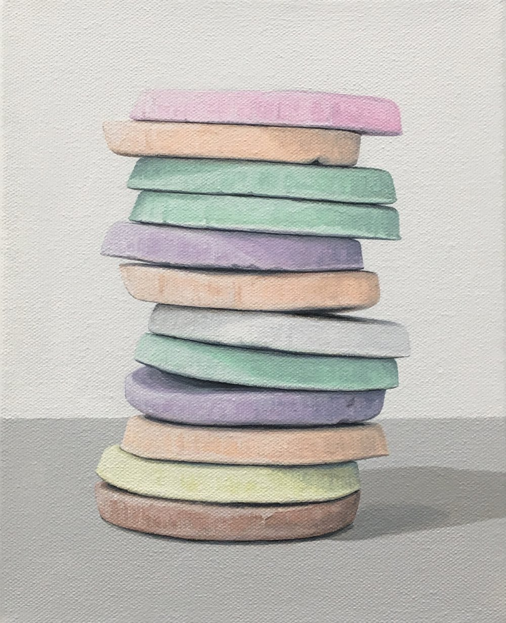 """Totem: Necco Wafer IV  This little candy stacks is built from 'An American Classic' candy, the Necco Wafer. As a culture we are generally attracted to these charming colors, but once the candy is experienced as a food there is often a mismatch between its attractiveness and its taste. This work explores the occurrence of the incongruity of appearance and experience.  8"""" x 10"""" gallery wrapped canvas  $250.00"""
