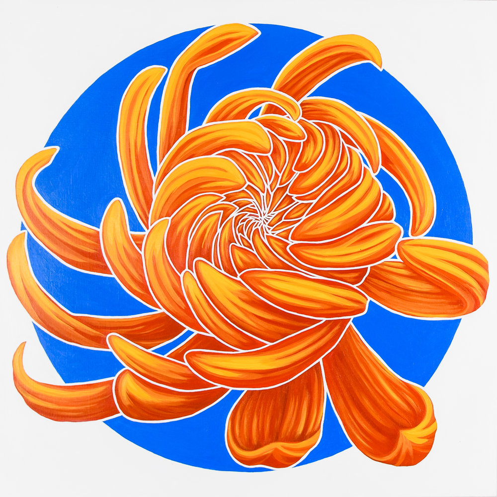 """California Dream I   Reminiscent of sunshine, surfboards and muscle cars this chrysanthemum shines.  acrylic painting on 20""""x20""""(x 1 5/8"""") gallery wrapped canvas  $1100.00"""