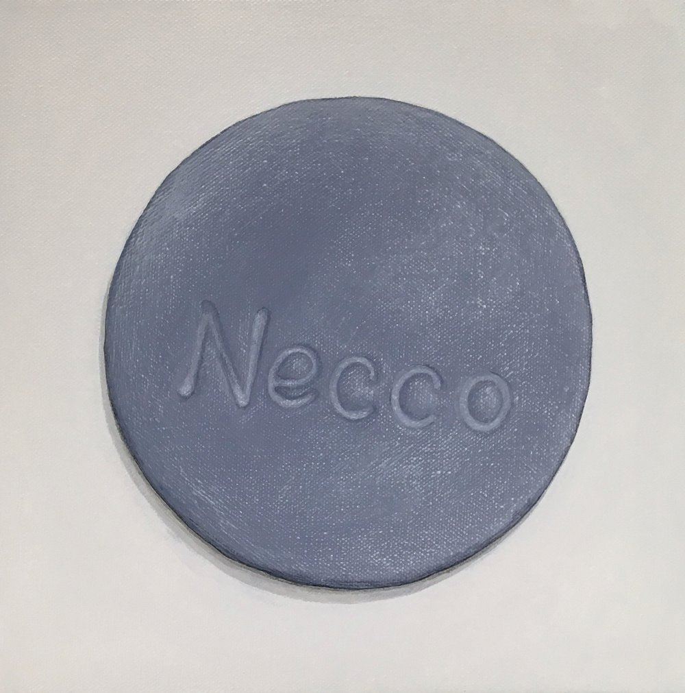 "Minimalist Necco: Licorice   A geometric abstraction of The Original Candy Wafer, an American Classic, the Necco Wafer, in licorice flavor.  Acrylic painting on 10"" x 10"" gallery wrapped canvas, ready to hang.  $310"