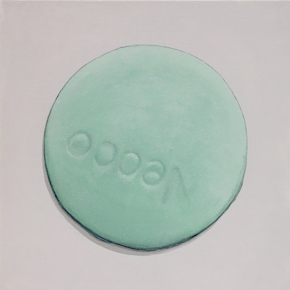 "Minimalist Neccos: Lime  A geometric abstraction of The Original Candy Wafer, an American Classic, the Necco Wafer, in lime flavor.  Acrylic painting on 10"" x 10"" gallery wrapped canvas, ready to hang.  $310"
