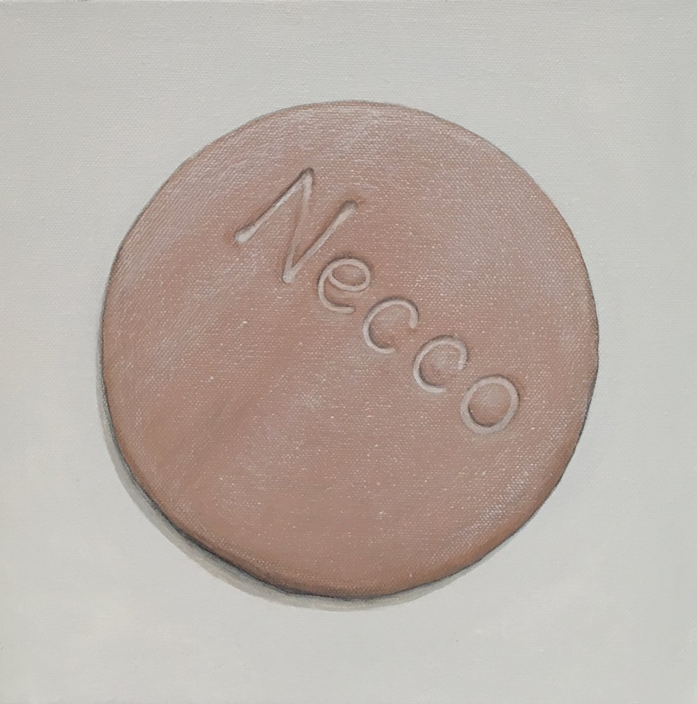 "Minimalist Neccos: Chocolate  A geometric abstraction of The Original Candy Wafer, an American Classic, the Necco Wafer, in chocolate flavor.  Acrylic painting on 10"" x 10"" gallery wrapped canvas, ready to hang.  $310"