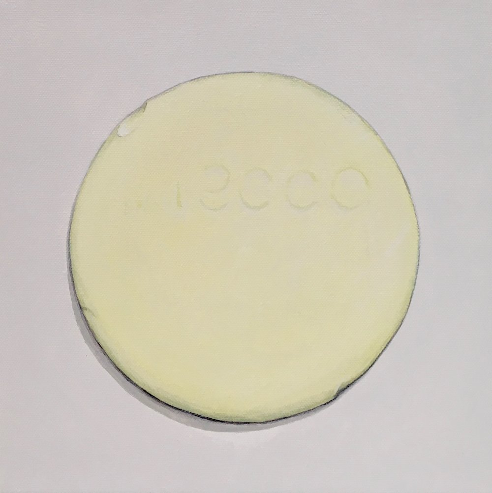 "Minimalist Neccos: Lemon  A geometric abstraction of The Original Candy Wafer, an American Classic, the Necco Wafer, in lemon flavor.  Acrylic painting on 10"" x 10"" gallery wrapped canvas, ready to hang.  $310"
