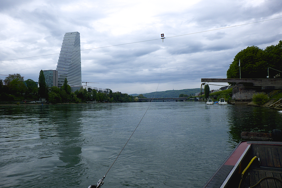 The cable. In the background the Hoffman La Roche building, icon of Basel.