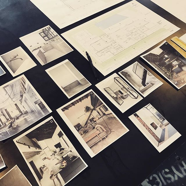 Mood board of interior textures for our #jcranchhouse project. Sometimes paper, scissors and pencils are better than the computer.