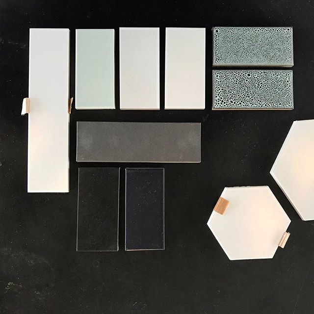 Fresh tile samples for our project out in Johnson City. We are really excited on the progress 🖤👌 . . . #architecture #interiordesign #archilovers #design #atx
