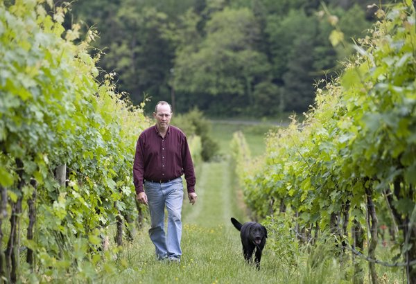 Randy & Boomer inspecting the vines