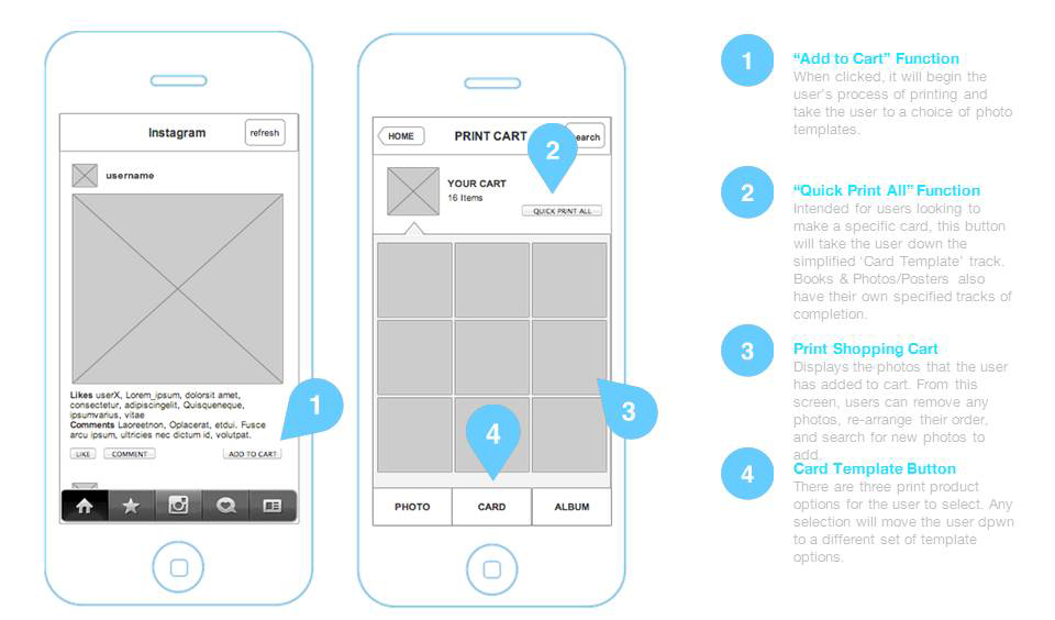instagram wireframe