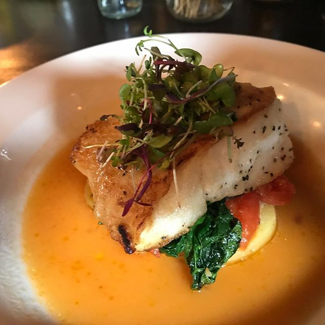 Pan roasted Chatham cod, Yukon gold oil poached potatoes, roasted tomato chutney, wilted spinach, tomato water