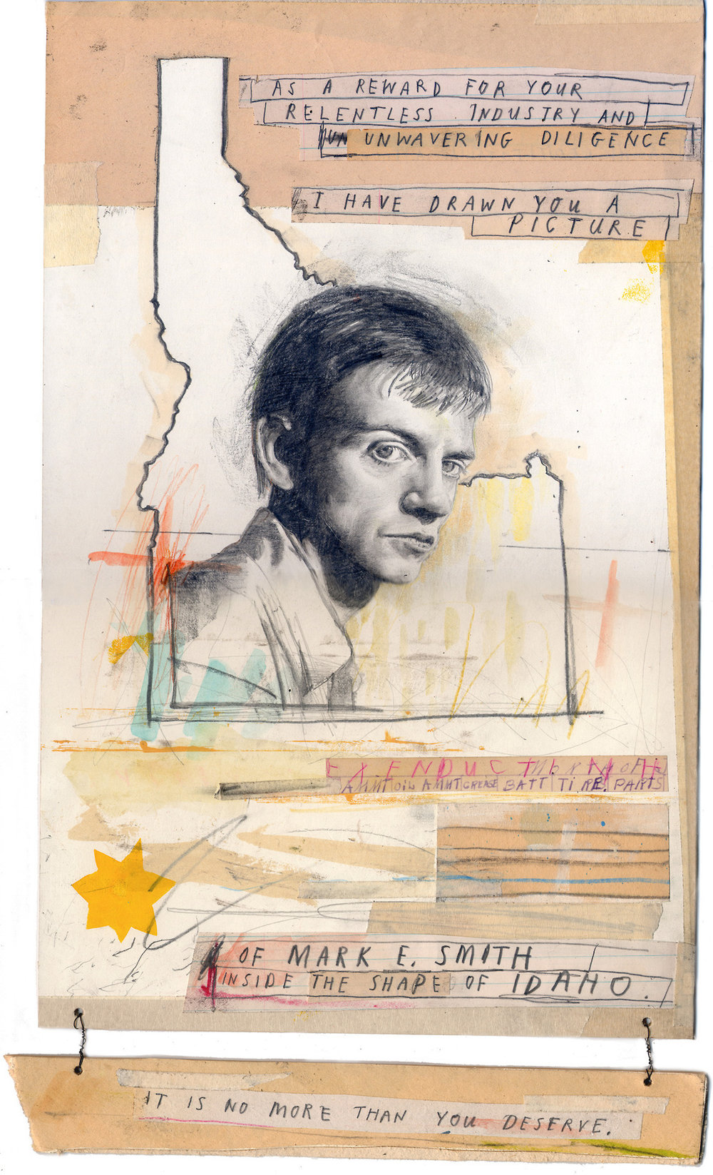 A drawing of  Mark E Smith  inside the shape of Idaho. What more could you possibly want?