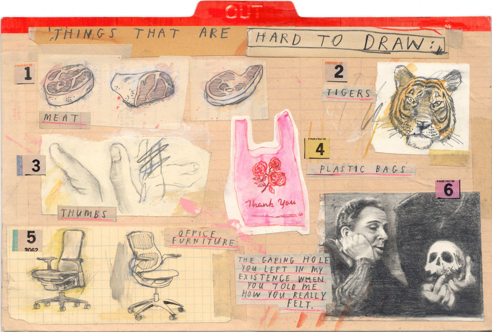Addendum to a Guide to Successful Drawing. Mixed media on found cardboard divider, 2015.