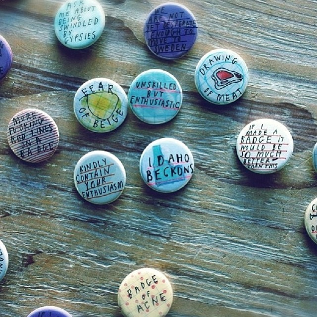 Hand made badges $1 in the Art Vending Machine. Available @thecompoundgallery opening on 8th Feb. (at The Compound Gallery)
