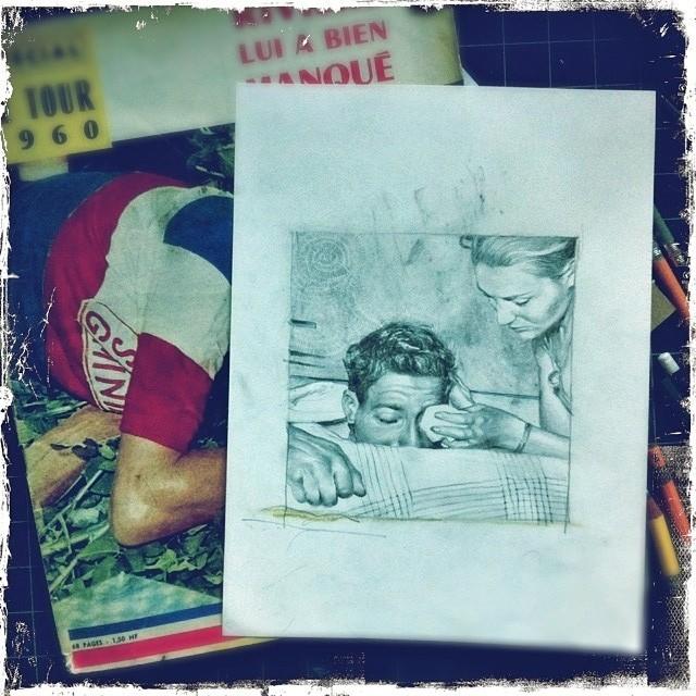 Drawing injured French cyclists (at Fullarton Acres)