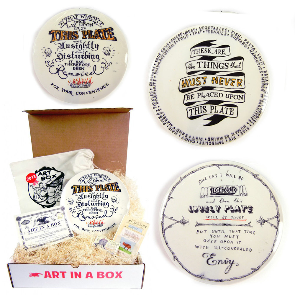 "Finally, The Oakland's amazing Compound Gallery brings you dishwasher and microwave safe art, in the shape of the one and only Limited Edition Ceramic Plate Series by Art in a Box.  There are only 12 Editions (4 plates per edition) available at only $300 each (including shipping). Subscribers will receive 4 original plates delivered to their door (one plate each month). Each 11"" plate arrives inside a hand printed muslin bag along with a certificate signed by the artist. The above constitutes my own humble contribution, check out the rest here."