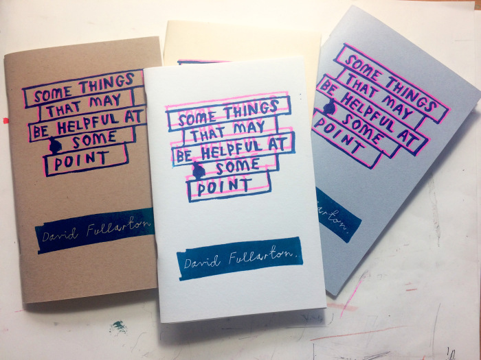 Three different letterpressed covers.