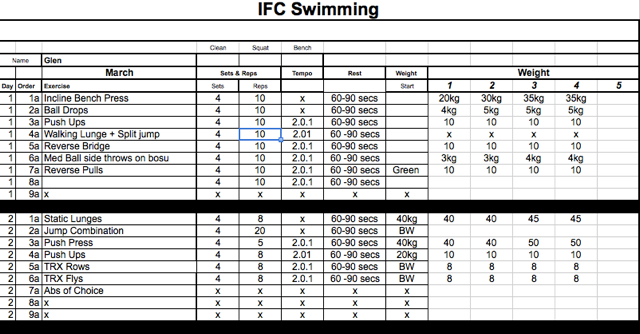 Sample IFC Personal Training program for a swimmer
