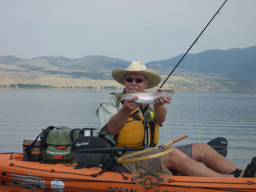 Fly fishing out of a kayak with the Rexfly Montana