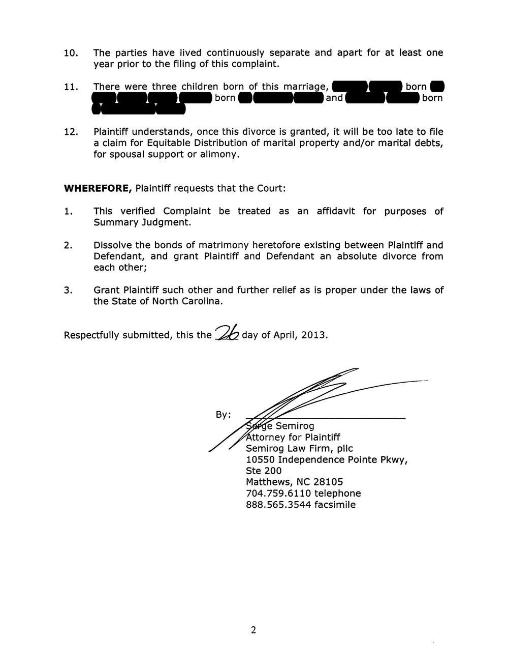 Complaint For Divorce, Page 2  Civil Complaint Template