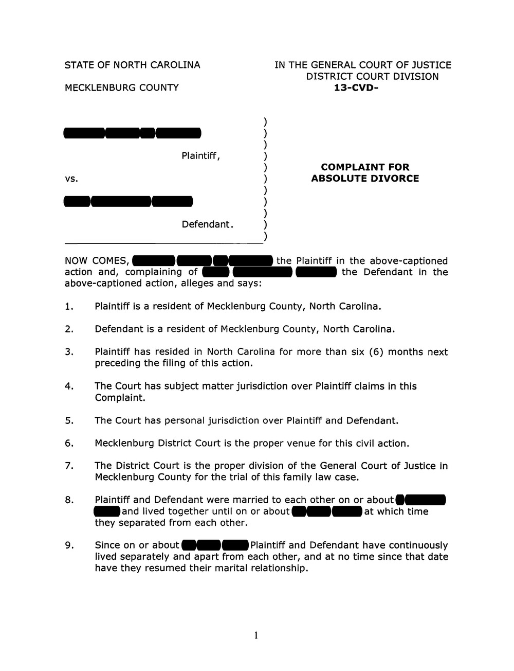 Complaint For Divorce, Page 1  Civil Complaint Template