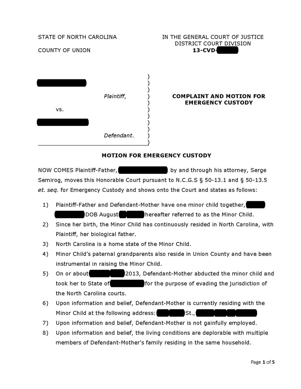 Custody Complaint, Page 1  Civil Complaint Template