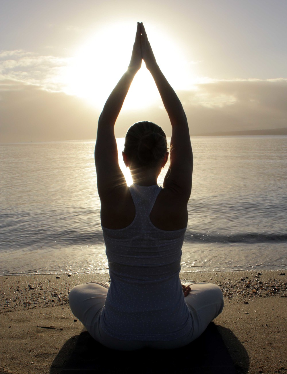 Erin enjoying blissful sunrise Yoga & Meditation on Takapuna Beach (April 2013)