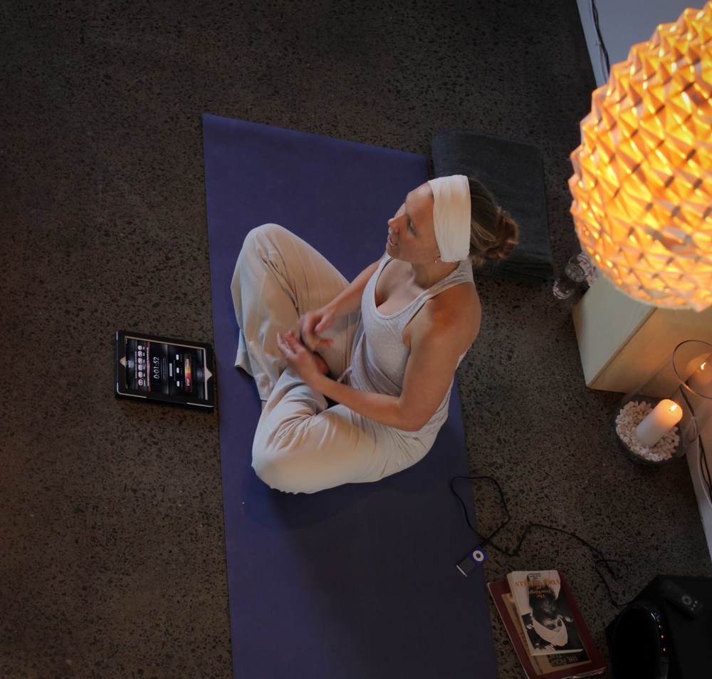 Erin teaching Kundalini at Golden Yogi - complete with golden buddha, iPad, ipod and a high quality sound system for maximum bliss.