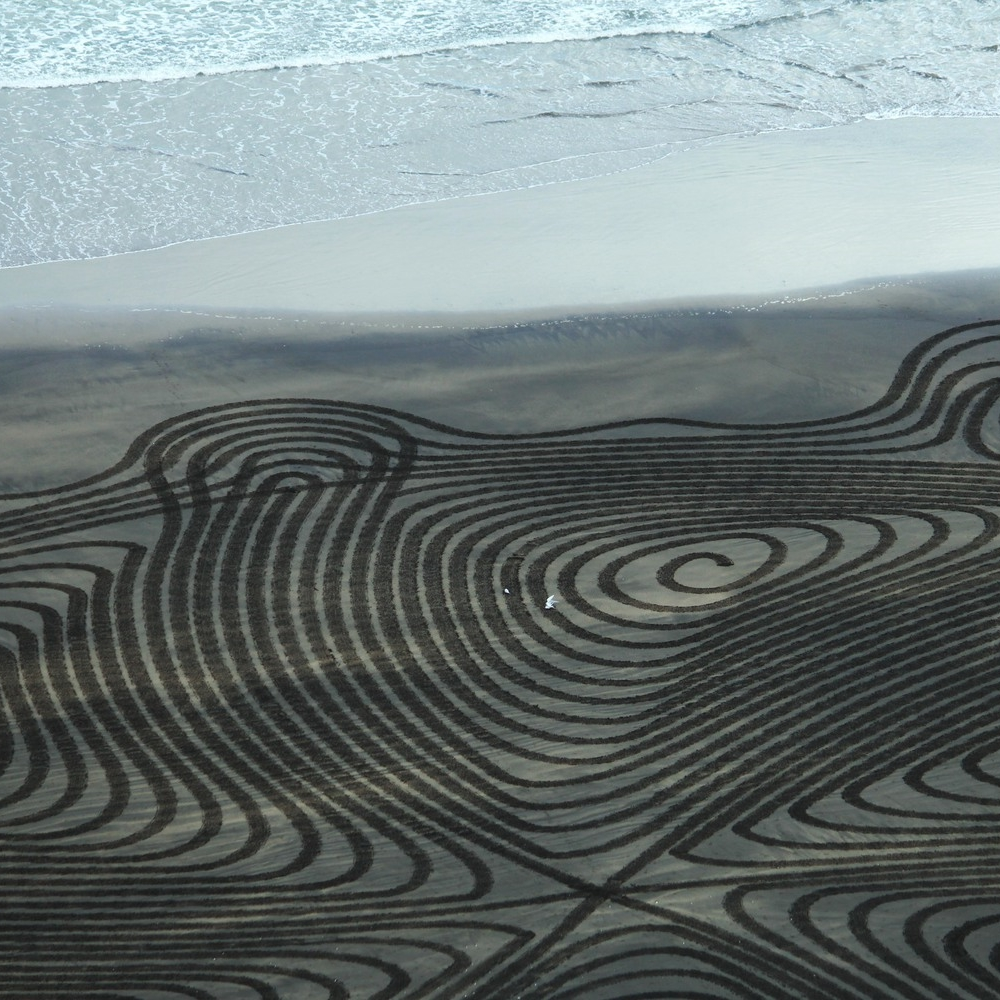 Simon Beck for icebreaker nature art series Muriwai beach